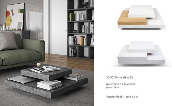 TemaHome Slate Coffee Table 3 Level - Matt White, White and Oak or Concrete image 10