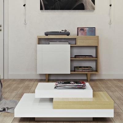 TemaHome Slate Coffee Table 3 Level - Matt White, White and Oak or Concrete image 17