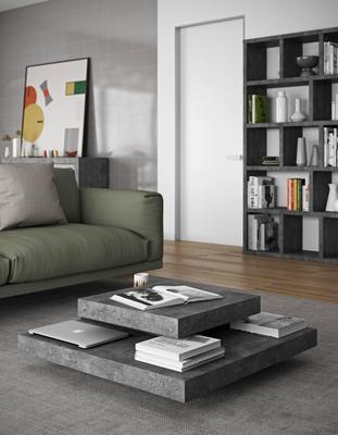 TemaHome Slate Coffee Table 3 Level - Matt White, White and Oak or Concrete image 19