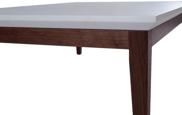 Lux Art Deco Coffee Table Matt Shaded White Lacquer and Walnut image 2