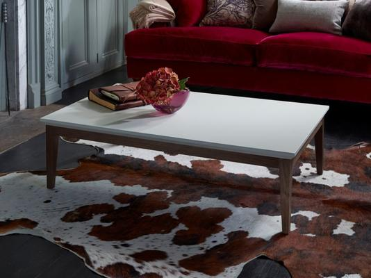 Lux Art Deco Coffee Table Matt Shaded White Lacquer and Walnut image 4