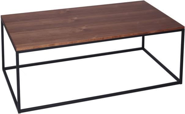 Kensal Rectangle Coffee Table Walnut Top with Polished Steel Base