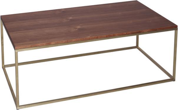 Kensal Rectangle Coffee Table Walnut Top with Polished Steel Base image 2