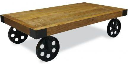 Industrial Vintage Coffee Table with Wheels in Metal and Wood