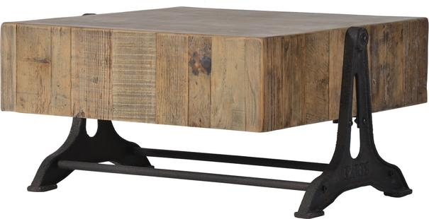 Blockwood Coffee Table Industrial Bleached Pine