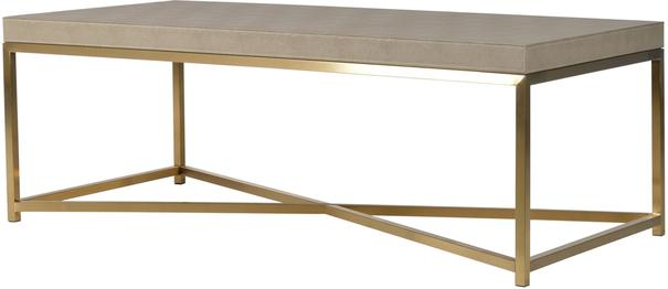Faux Ostrich Leather Coffee Table Contemporary Stainless Steel Frame