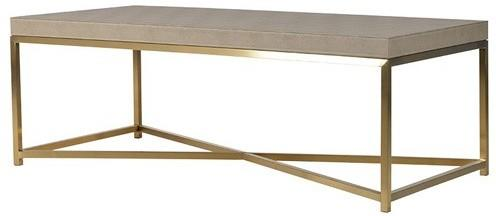 Faux Ostrich Leather Coffee Table Contemporary Stainless Steel Frame image 2
