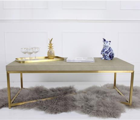 Faux Ostrich Leather Coffee Table Contemporary Stainless Steel Frame image 4