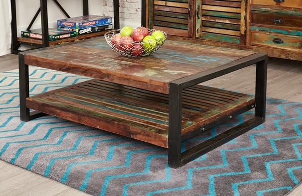 Shoreditch Rustic Rectangular Coffee Table Reclaimed Wood