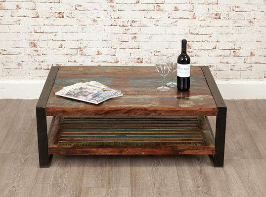 Shoreditch Rustic Rectangular Coffee Table Reclaimed Wood image 3