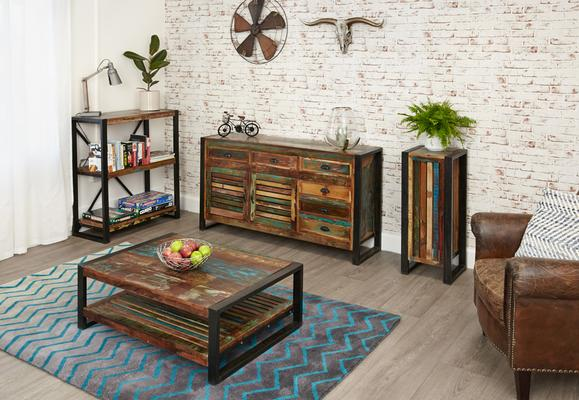 Shoreditch Rustic Rectangular Coffee Table Reclaimed Wood image 4