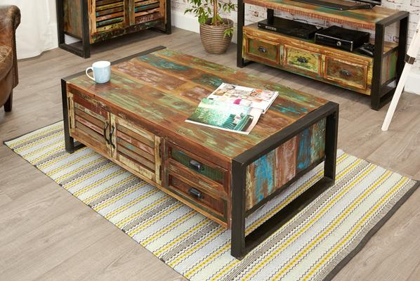 Shoreditch Reclaimed Coffee Table With 4 Drawers