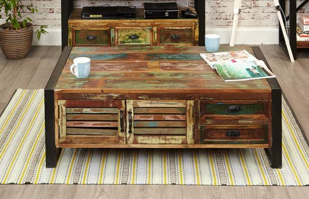 Shoreditch Reclaimed Coffee Table With 4 Drawers image 2