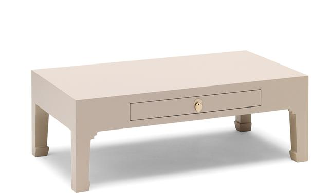 Chinese Coffee Table One Drawer Oyster Grey