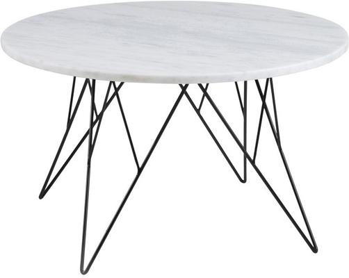 Prunus Coffee Table with White Marble Top and Metal Frame