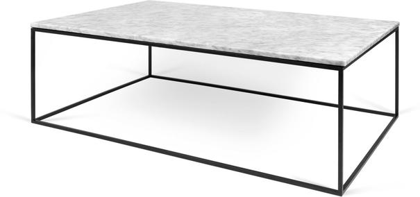 Gleam Rectangular Coffee Table Black Marble or Wood Top image 2