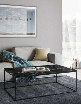 Gleam Rectangular Coffee Table Black Marble or Wood Top image 14