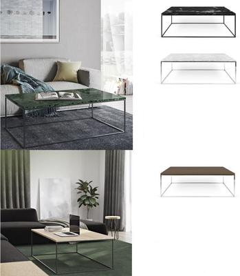 Gleam Rectangular Coffee Table Black Marble or Wood Top image 21