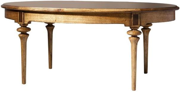 Spire Antiqued Wood Oval Coffee Table