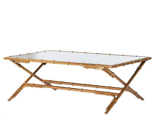 Bamboo Effect Coffee Table Contemporary Iron Design