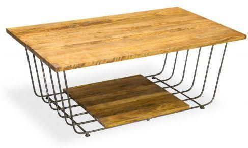 Birdcage Rectangular Coffee Table Vintage Mango Wood and Steel
