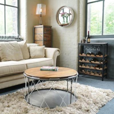 Birdcage Round Coffee Table Vintage Mango Wood and Steel image 2
