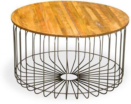 Birdcage Round Coffee Table Vintage Mango Wood and Steel image 3