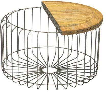 Birdcage Round Coffee Table Vintage Mango Wood and Steel image 4