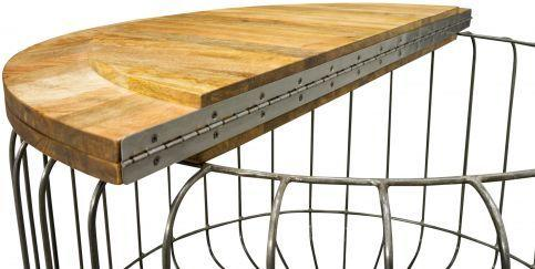 Birdcage Round Coffee Table Vintage Mango Wood and Steel image 6