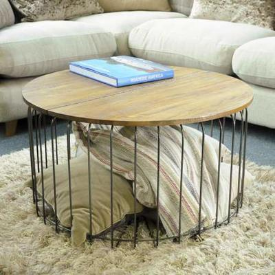 Birdcage Round Coffee Table Vintage Mango Wood and Steel