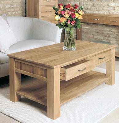 Mobel Oak Modern Coffee Table with 4 Drawers image 3