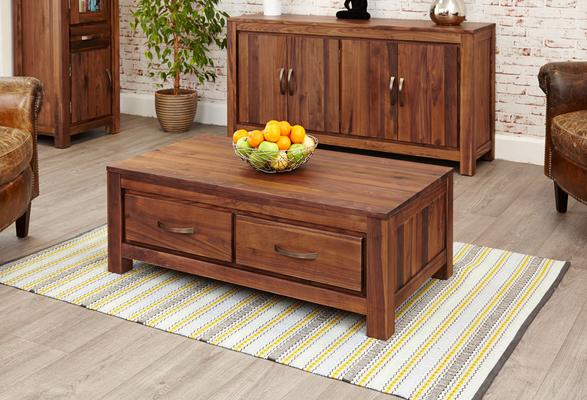 Mayan Walnut Low Coffee Table with 4 Drawers Rustic