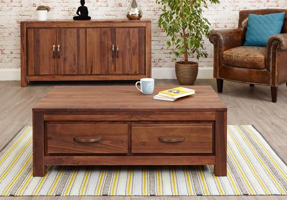 Mayan Walnut Low Coffee Table with 4 Drawers Rustic image 2