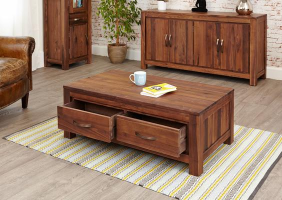 Mayan Walnut Low Coffee Table with 4 Drawers Rustic image 3