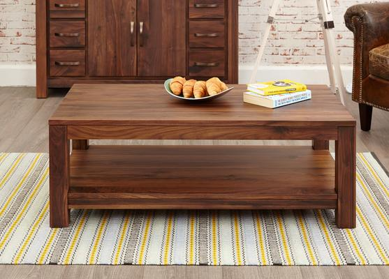 Mayan Walnut Open Coffee Table Rustic Design