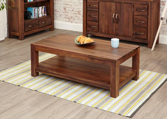 Mayan Walnut Open Coffee Table Rustic Design image 2