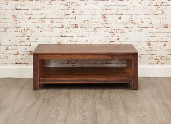 Mayan Walnut Open Coffee Table Rustic Design image 3