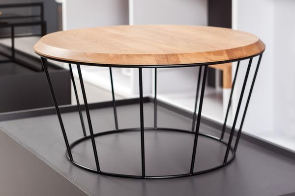 Arena  Round Coffee Table - Lacquered Oak and Black Frame image 2