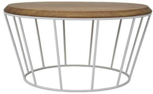 Arena Round Coffee Table - Lacquered Oak and White Frame