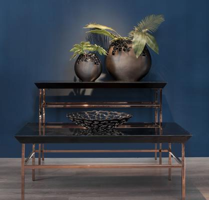 Calvert Black Glass Coffee Table with Copper Steel Frame image 2