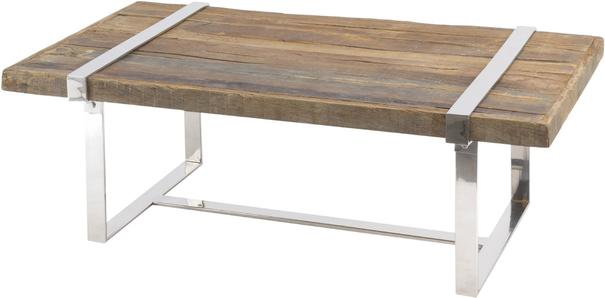 Brixton Reclaimed Sleepers Coffee Table with Polished Nickel Frame