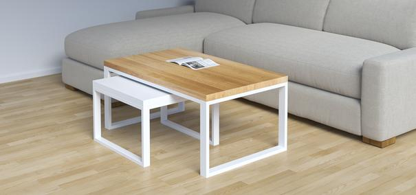 Duet Nest of Tables - Oak and White  image 2