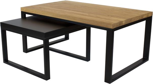 Duet Nest of Tables - Oak and Black Top