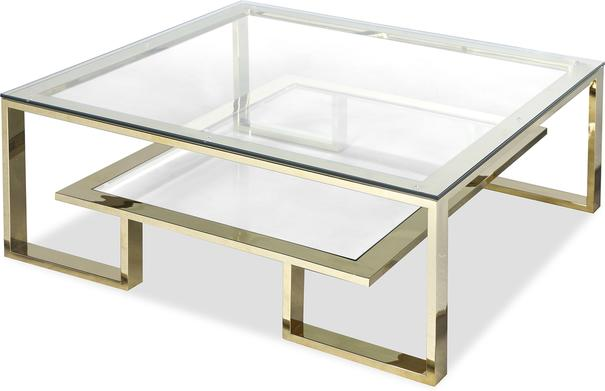 Mayfair Glass Coffee Table in Steel, Bronze or Brass image 6