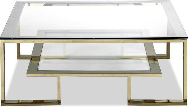 Mayfair Glass Coffee Table in Steel, Bronze or Brass image 7