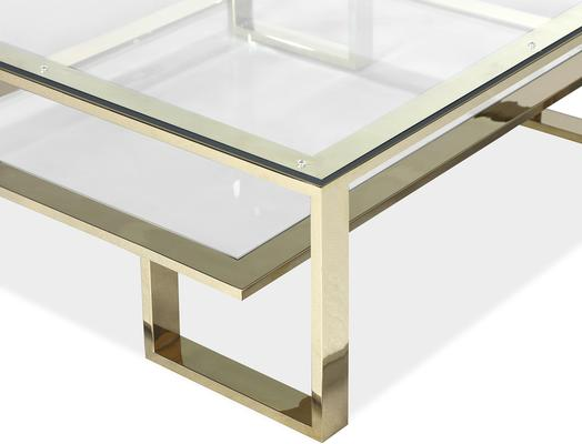 Mayfair Glass Coffee Table in Steel, Bronze or Brass image 8