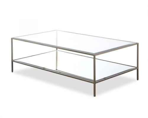 Oliver Glass Coffee Table Antique Steel Frame