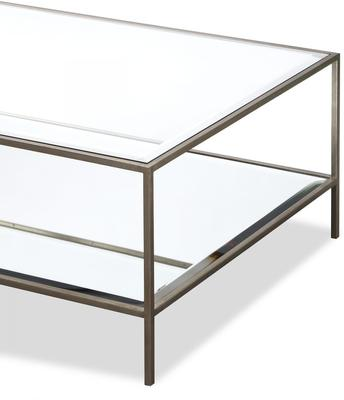 Oliver Glass Coffee Table Antique Steel Frame image 3