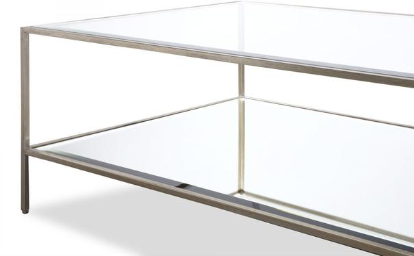 Oliver Glass Coffee Table Antique Steel Frame image 4