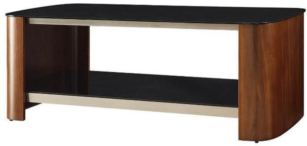 Melbourne Coffee Table Walnut Black Glass Top JF311